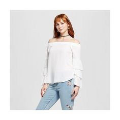 Layered with Love Women's Ruffle Sleeve Off The Shoulder Blouse ($43) ❤ liked on Polyvore featuring tops, blouses, white, layered blouse, off shoulder blouse, white off the shoulder blouse, ruffle sleeve blouse and white shirt