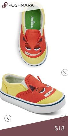 NWT Zootopia Fox canvas slip-ons boys sz 12 Super cute and comfy, these Boys' Disney Zootopia Canvas Sneakers in Yellow are perfect for your active little guy. They feature non-slip rubber sole, low top slip-on design and stretchy top that keeps his foot secure and make them easy to get on and off. The lightweight canvas construction adds durability. Disney Shoes Sneakers