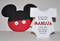 ADORABLE - Mickey Mouse Baby Shower Invitationwith a Onesie Insert., $2.75/ 10 pack (http://www.debspartydesigns.com/products/Mickey-Mouse-Baby-Shower-Invitation-(Inspired)-with-a-Onesie-Insert..html)