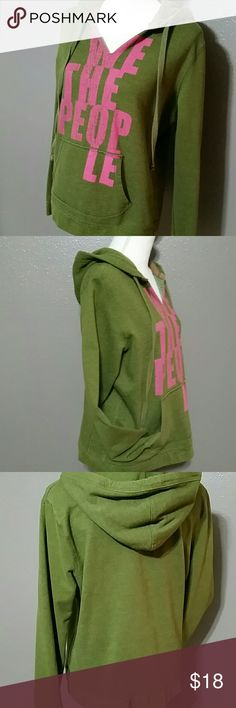 Mossimo Army Green Faded Hoodie luv the PPL Tagged XXL but I thought it fit more like a large (especially after washing) & I like my hoodies HUGE so I'm going to let go. Only worn a time or two gently before washing so excellent condition. It reminded me of free ppl -why I loved the style so much. Ruff hems (but sewn) & loose around the neck with a v cut added. Breastline 21 length 23 & arm inseam 19 inches. Mint! It looks a lot brighter in these photos for some reason. It is more of a faded…