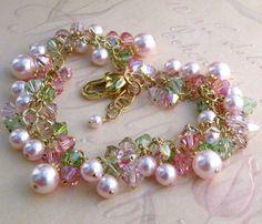 Pink Pearl Bracelet, Gold Filled, Crystal Cluster, Statement, Swarovski, Handmade Jewelry, Spring Fashion, Valentine. $210.00, via Etsy.