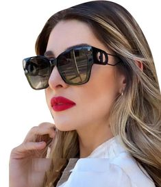 Channel Sunglasses, Sunglasses Sale, Gold Sunglasses, Cat Eye Sunglasses, Sunglasses Women, Dior Eyeglasses, Nice Glasses, Christian Dior Sunglasses, White Fashion