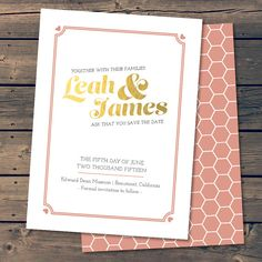 Golden Day / Save The Date Wedding by PixelPaperStationery on Etsy