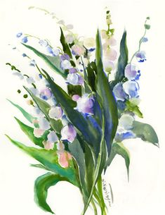 Lilies of the BValley Floral Painting, Lilies Of the Valley, Original watercolor painting, white green art, green spring flowers painting by ORIGINALONLY on Etsy Art Floral, Watercolor Flowers, Watercolor Paintings, Watercolours, Green Art, Watercolor Techniques, Lily Of The Valley, Spring Flowers, Lovers Art