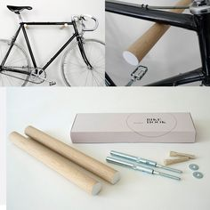 wooden bike hook // OAK WOOD - These minimal wooden bike hooks present an elegant and clever way to store your bespoke bicycle at home. Conceived as a piece of high-quality furniture rather than a mere practical device they offer an extremely simple but sophisticated storage solution for light sports bikes. Meticulously hand-turned from sustainable hardwood either in oak wood or american black walnut they pay tribute to your bike as a design object and also look beautiful on their own.