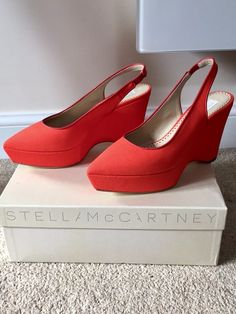 35bfee3c2 Brand new Stella McCartney mandarin orange canvas pointed wedges 😍 for  £120. Click for