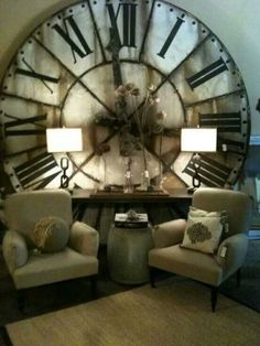 Industrial decor style is perfect for any interior. An industrial living room is always a good idea. See more excellent decor tips here: My Living Room, Living Spaces, Living Room Clocks, Cozy Living, Sweet Home, Diy Casa, Home And Deco, My New Room, Home Interior