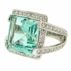 Boucheron Vintage 1950s Engagement Ring - Green Aquamarine, Diamond and White Gold Cocktail Ring | via 1stdibs.com