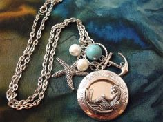 Mermaid, Turquoise, Anchor, and Starfish... Everything I love! WANT!  Mermaid Locket Necklace Silver Plated with Pearls and by agothshop, $17.00