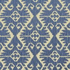 Blue Ikat Upholstery Fabric by the Yard Woven by PopDecorFabrics