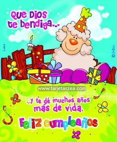 Imagen de cumpleaños llena de bendiciones-obeja Lana rodeada de regalos de cumpleaños © ZEA www.tarjetaszea.com