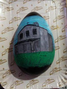 Chiesa Sant'Efisio(Nora) dipinta su uovo di cioccolato fondente