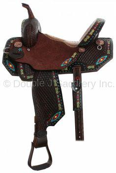 Pozzi Pro Barrel Racer Saddle with Southwest Arrowhead painted border & turquoise buckstitch by Double J Saddlery.