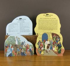Over 18 different Bible Stories can be found at Cat's Meow Village / Bible story is written on back of each one