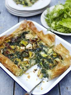 Spring pie | Jamie Oliver Vegetarian decadence... I bet you could also just do this with a pastry dough