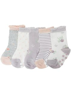 Soft and warm 5-pack of striped, floral and spotted pattern baby's sock with anti-slip protection. ### Pack of 5 Fabric: 75% Cotton, 22% Polyamide, 3% ElastaneWash: 40ºKeep away from fire
