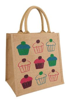 Shared Earth's quirky jute bag designs have proved increasingly popular, so for its new catalogue, the company is introducing some new designs including this cupcake style. These bags are environmentally friendly, using sustainable materials and reducing the use of plastic bags. They are hand screen printed on eco-friendly jute by Earth Bags in Kolkata, India. www.sharedearth.c...