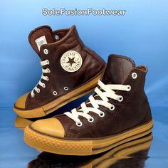 sports shoes 93bcd 6a25b Converse Boys All Star Leather Hi Top Trainers Brown sz 2.5 Girls Kids EU  35 VTG   eBay