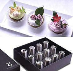PITANGO Russian Piping Tips  12 Pcs Set  Packed In Black Box -- Check out the image by visiting the link.