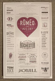 Typographic Matchmaking Poster. $65... I love it! Shows great combined typefaces with great design!