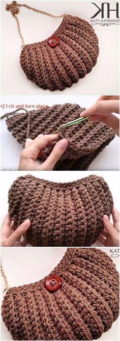 Marvelous Crochet A Shell Stitch Purse Bag Ideas. Wonderful Crochet A Shell Stitch Purse Bag Ideas. Crochet Purse Patterns, Crochet Clutch, Crochet Handbags, Crochet Purses, Crochet Bags, Free Crochet Bag, Crochet Diy, Crochet World, Crochet Gifts