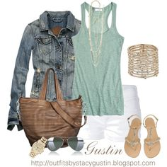 jean jacket and white shorts, created by stacy-gustin on Polyvore