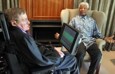 South Africa former President Nelson Mandela (R) meets with British scientist Professor Stephen Hawking (L) in Johannesburg on May 15, 2008. Hawking, who has devoted his career to finding the origins of the universe, is in the country to begin a search for Africa?s answer to Einstein. Some of the world?s leading high-tech entrepreneurs and scientists have backed a ?75m plan to create Africa?s first postgraduate centres for advanced math and physics,