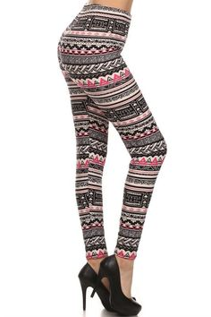 Regular Leggings- Capri length ~ Pink Geo print
