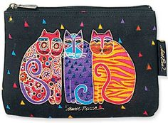 Smaller zipper close canvas bag making it the perfect way to carry cosmetics or other accessories in a larger bag. Approximate size: 9 x 1 x 6 inches Laurel Burch, Cat Quilt, Cat Cards, Cat Colors, Halloween Cat, Cat Drawing, Whimsical Art, Art Plastique, Fabric Painting