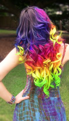 rainbow hair | Hand dyed rainbow hair extensions clip in full head set