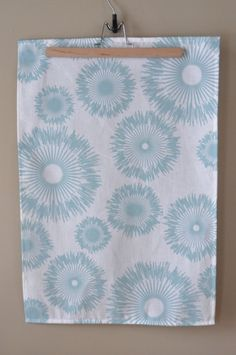Cotton/Linen Tea Towel Hand Printed Dahlia in by printinggrounds, $16.00