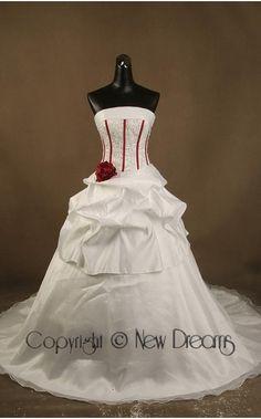 abito da sposa V2021-satin and organza red&white wedding dress