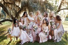 romantic garden wedding pastel mix and match bridesmaids