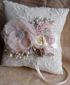 Set Of Gray Shabby Chic Embellishment - maallure Wedding Ring Cushion, Wedding Pillows, Ring Bearer Pillows, Ring Pillows, Shabby Chic Pillows, How To Make Pillows, Silk Ribbon Embroidery, Wedding Crafts, Fabric Flowers