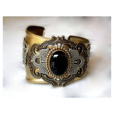 Gothic Brass Cuff Bracelet Large Black Onyx Women Gothic Jewelry ($103) ❤ liked on Polyvore featuring jewelry, bracelets, adjustable bangle, goth jewelry, cabochon jewelry, hinged cuff bracelet and victorian cuff bracelet