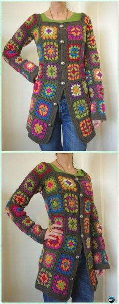 Crochet Granny Square Cardigan Coat Jacket