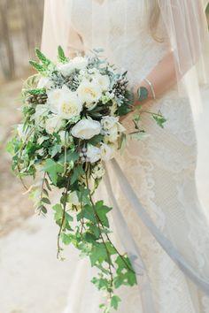 Rustic elegant cascading bouquet: http://www.stylemepretty.com/little-black-book-blog/2016/02/01/rustic-elegant-crete-destination-wedding-2/   Photography: Anna Roussos - http://www.annaroussos.com/