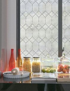 "Add privacy and a touch of elegance, and make your windows look super expensive, with with ""leaded-glass"" film. 