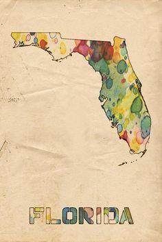 Florida Print featuring the painting Florida Map Vintage Watercolor by Florian…