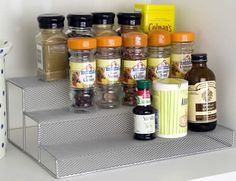 Spice Stepper - Mesh Stacking Shelf | Metal Storage Box | Mesh Storage Basket on Wheels