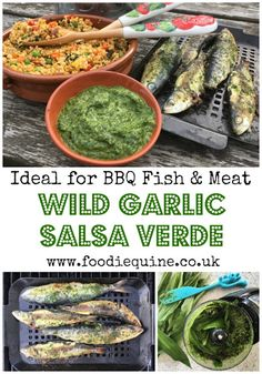 The perfect addition to any barbecued meat, fish or vegetables. This seasonal Salsa Verde is made with Wild Garlic and in this recipe I've served it with Sardines and Couscous Salad. Well worth heading out to the woods and doing some foraging. Garlic Recipes, Fish Recipes, Seafood Recipes, Vegetarian Recipes, Mexican Recipes, Italian Recipes, Fish And Meat, Fish And Seafood, Barbacoa