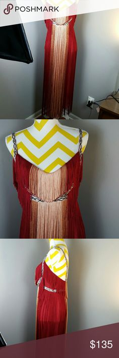 Free People Deco fringe midi dress The picture don't do justice of how beautiful and unique this dress is..  New without tags Free People Dresses Midi