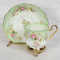 Each Teacup Set Includes One Teacup and One Saucer. 2 Paragon – White with Silver Trim. 7 Royal Albert – Flowers on Pink. 11 Royal Albert – Old Country Roses. Tea Cup Set, My Cup Of Tea, Tea Cup Saucer, Tea Sets, Royal Albert, Green White Background, Vintage Cups, Vintage China, Teapots And Cups