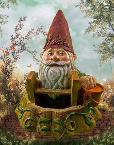 A miniature garden gnome hard at work in our enchanted mini garden.