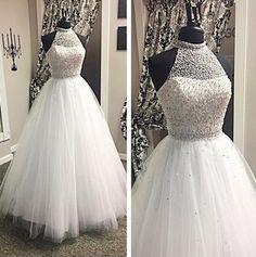White Prom Dress,Ball Gown Prom Dresses,Halter Prom Dresses,A-line Modest Prom Gowns, Tulle Prom Dress, Long Wedding Dresses, Wedding Gowns, Formal Dresses, Prom Dresses, Bridal Gowns, Ivory Wedding, Beaded Dresses