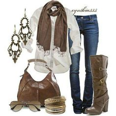 White shirt jeans and accessories.
