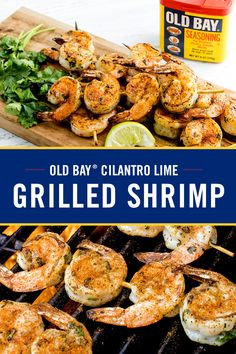 Are you ready to bring some zing to your backyard BBQ? Just add this easy Grilled OLD BAY Cilantro Lime Shrimp to the menu. It's ready in under 20 minutes with only 3 easy steps. Grilling Recipes, Fish Recipes, Seafood Recipes, New Recipes, Dinner Recipes, Cooking Recipes, Favorite Recipes, Healthy Recipes, Easy Grilled Shrimp Recipes