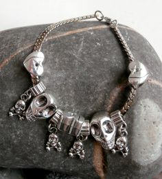 Flat Chain Charm Bracelet - Repurposed Silvertone Skulls & Hearts by ReTainReUse on Etsy