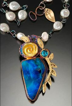 Necklace by Julie Shaw - Sterling silver, 22k gold, enameled fine silver, opal, pearls