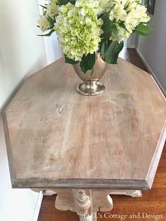 I found this great wooden table on my hunt this week fortreasures.  Before: It has great bones and is very sturdy even though it i...
